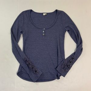 Anthropologie Eloise Thermal BOHO Top LS XS